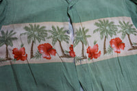 Croft and Barrow smooth Rayon palm trees & Hibiscus Print Shirt