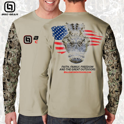 BullGator Performance Logo Gator/Flag Camo Long Sleeve