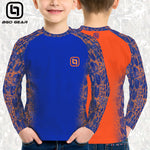 BGO Youth Performance 2-Tone Orange & Blue Camo Long Sleeve