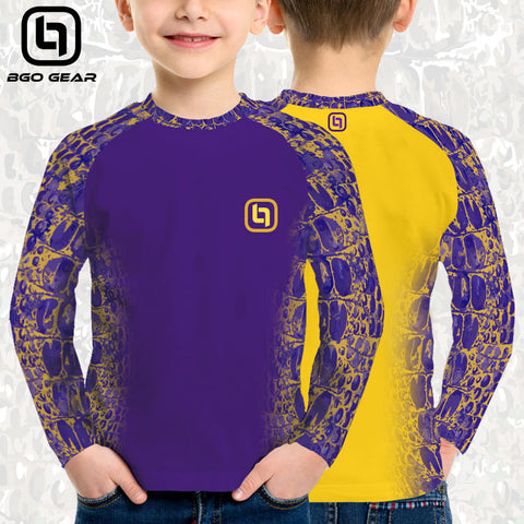 BGO Youth Performance 2-Tone Purple & Yellow Camo Long Sleeve
