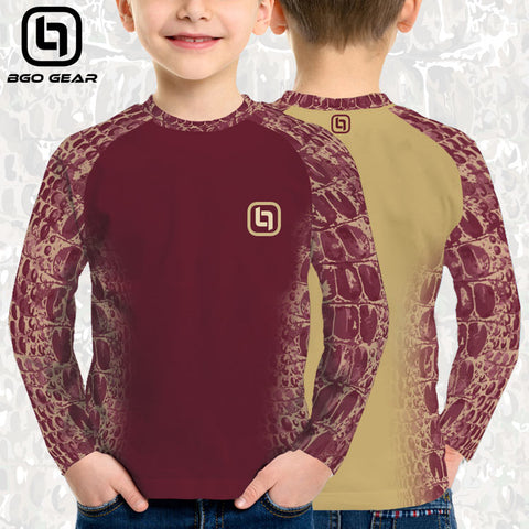 BGO Youth Performance 2-Tone Garnet & Gold Camo Long Sleeve