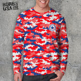 Digital Camo Red- White, & Blue