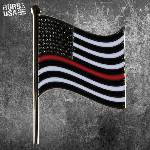 Waving American Flag Thin Red Line