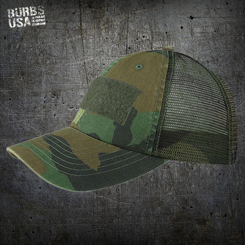 Deluxe Military Trucker Style Woodland Camo Hat
