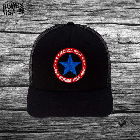 Burbs USA America First Trucker Hat Black