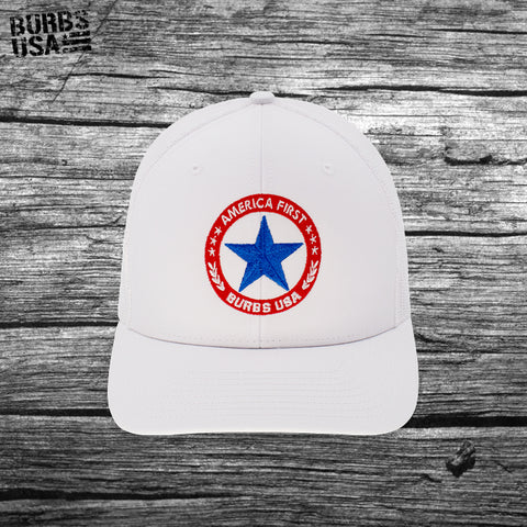 Burbs USA America First Trucker Hat White