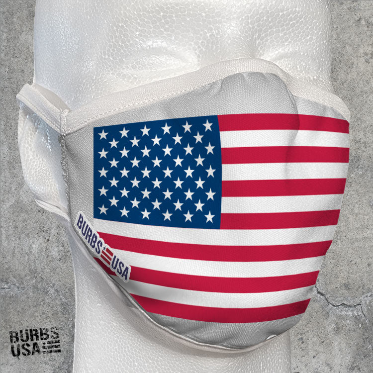 Pure White American Flag Face Mask