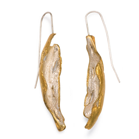 18ct Gold-Plated Silver Earth and Fire Earrings by Roberta Pederzoli
