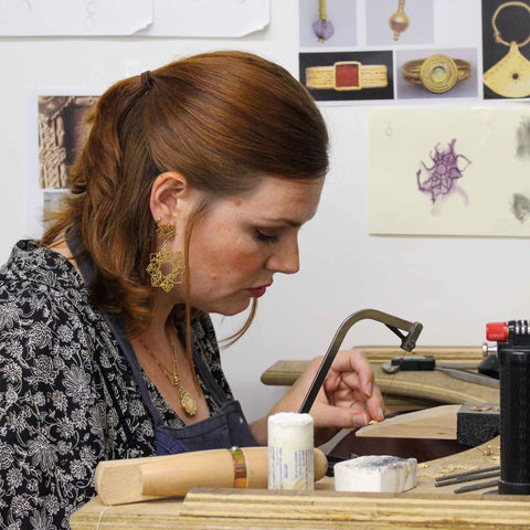 Jewellery designer maker Natalie Perry making at her bench
