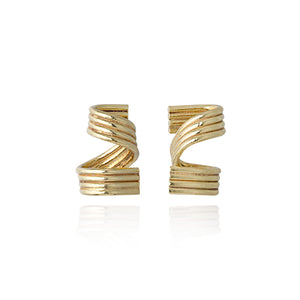 18ct Gold Duo Curl Earrings by Ellys May Woods