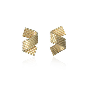 18ct Gold Single Curl Earrings by Ellys May Woods