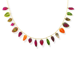 3. Hand carved multi coloured tourmaline and enamel statement necklace
