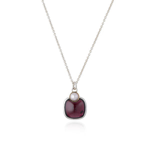 Pearl and Red Garnet Necklace by Katharina Kraus