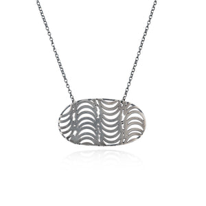 Silver Patterned Statement Pendant by Caitlin Hegney