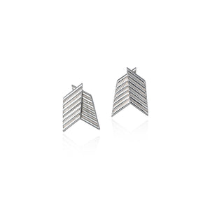 Silver Chevron Earrings by Ellys May Woods