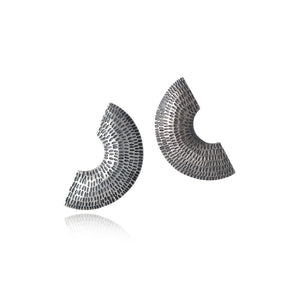 Silver Textured Pattern Semi-Circular Earrings by Caitlin Hegney