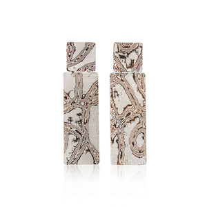 Silver Mokume Gane Long Earrings by Francesca Urciuoli