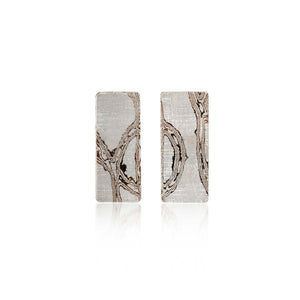 Silver Mokume Gane Stud Earrings by Francesca Urciuoli