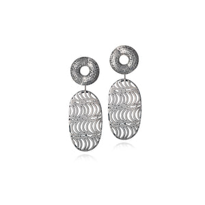 Silver Two-in-One Patterned Studs and Earrings by Caitlin Hegney
