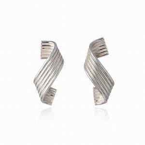 Silver Single Curl Earrings by Ellys May Woods