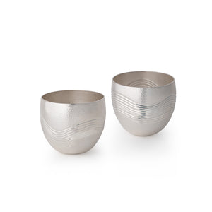 Single Wave Chased Britannia Silver Beaker Cups