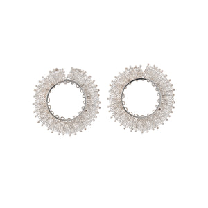 Pair of Sterling Silver Woven Hoop Stud Earrings