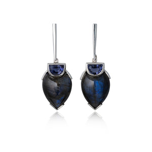 Silver, Blue Labradorite and Lolith Earrings by Katharina Kraus