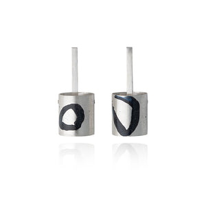 Cylindrical Silver and Enamel Inlay Stud Earrings