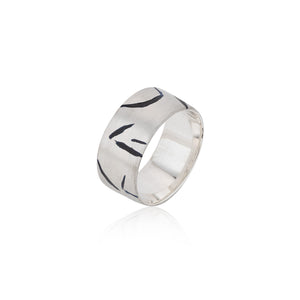 Sterling Silver and Black Enamel Inlay Ring