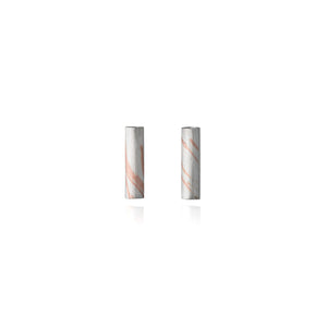 Silver and Inlaid Copper Tubular Stud Earrings