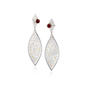 Silver and Garnet Leaf Earrings by Katie Watson