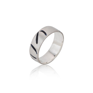 Slim Sterling Silver and Black Enamel Inlay Ring