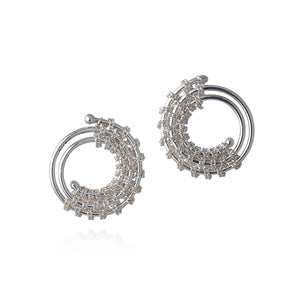 Sterling Silver Circular Twisted Stud Earrings