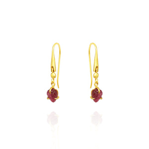 8. Pink leaf tourmaline small earrings
