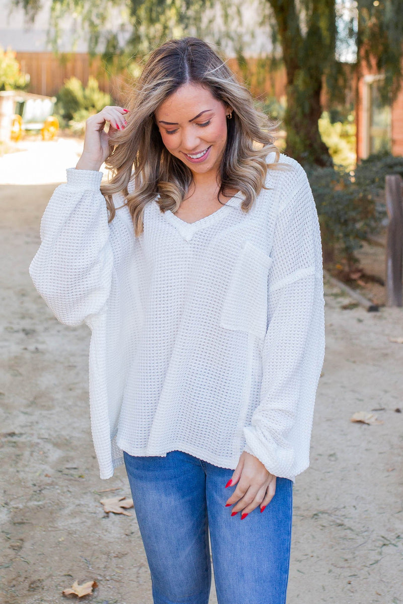Floating on Clouds Waffle Knit Top