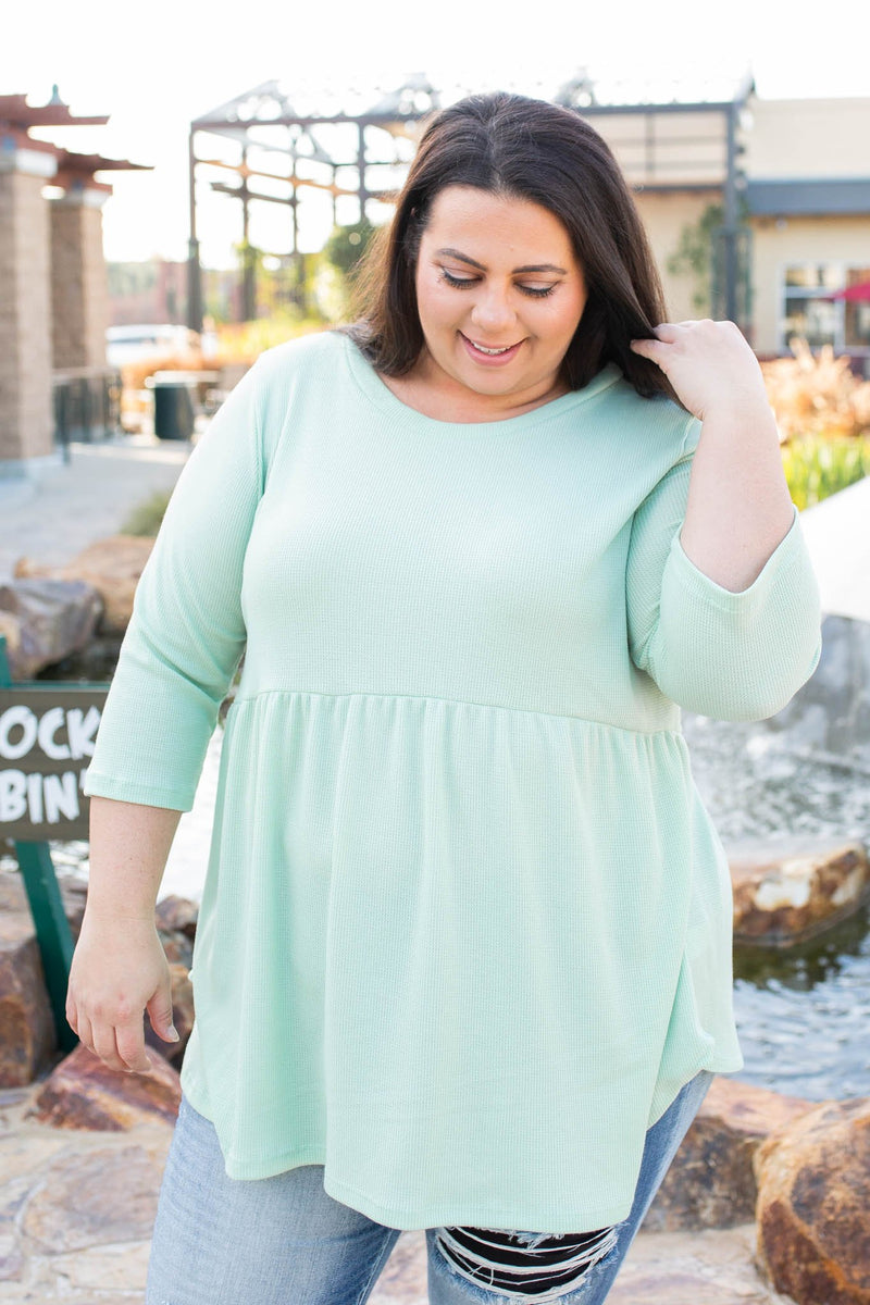 Mint To Be Waffle Knit Babydoll