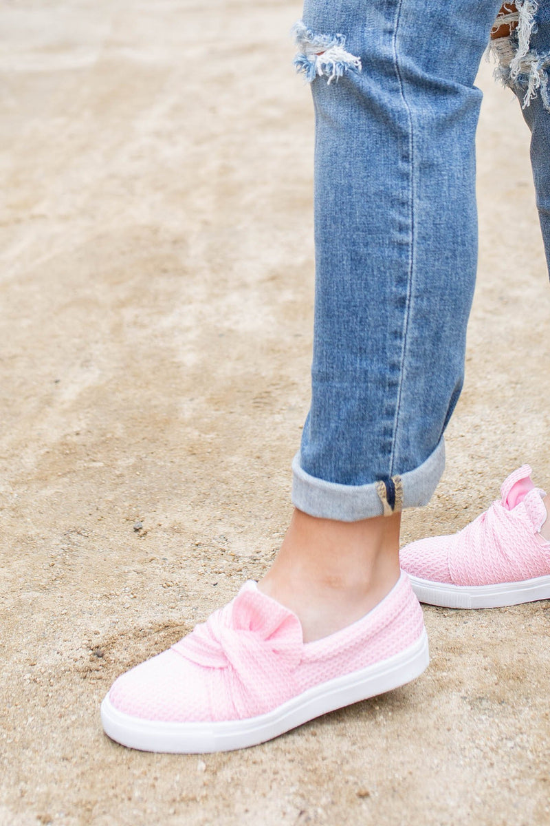 Top Knot Slip On Sneakers - Spring Pink