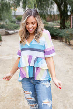 Over The Rainbow Ruffled Peplum