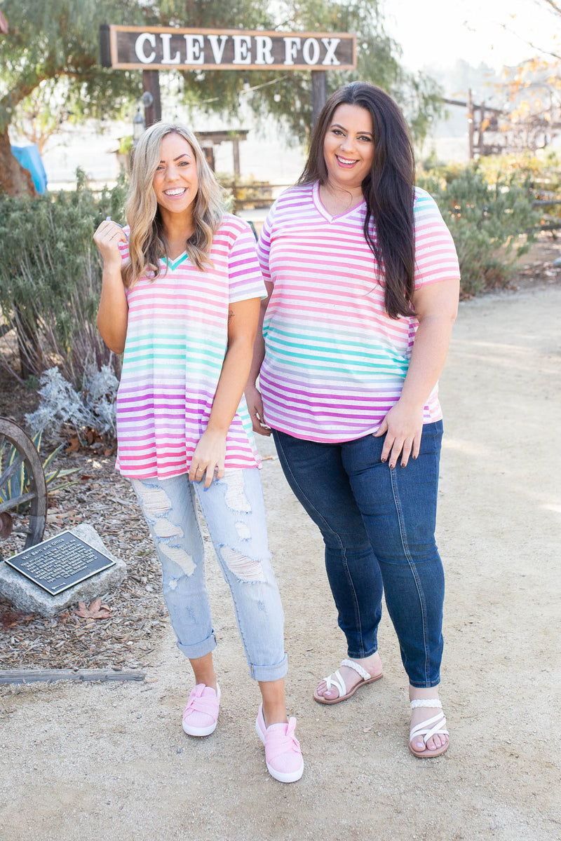 Confetti Speckled Striped Top
