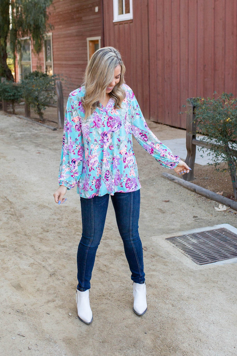 Pop of Neon Long Sleeve Top