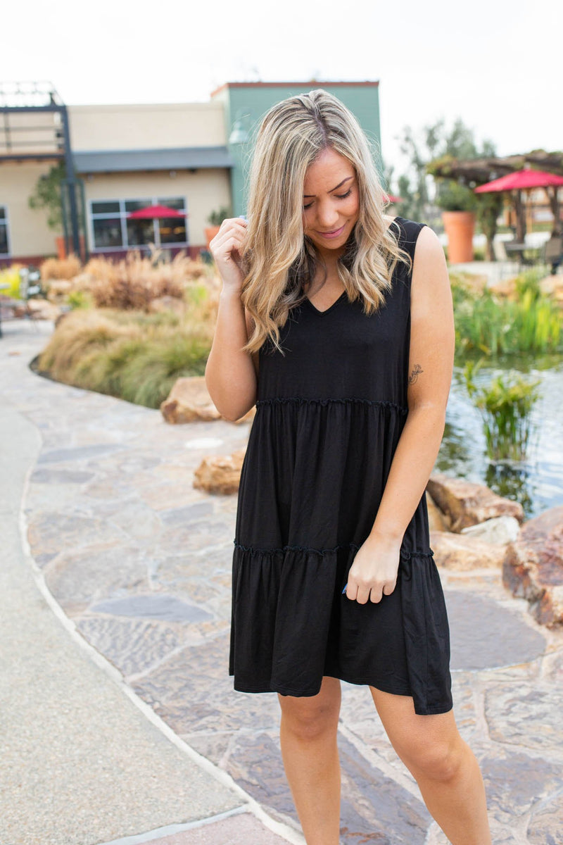 Tiered Decadence Dress in Black