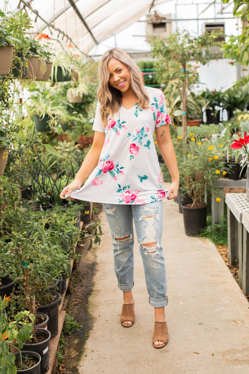 Blissful Floral Short Sleeve Top