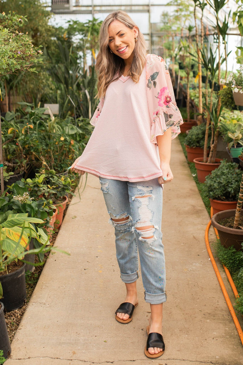 Perfectly Blushed Bell Sleeve Top