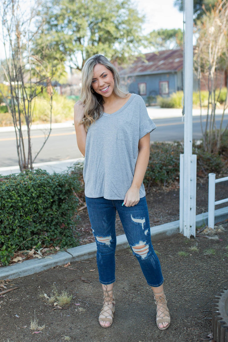 My Everything Short Sleeve Top in Heathered Grey