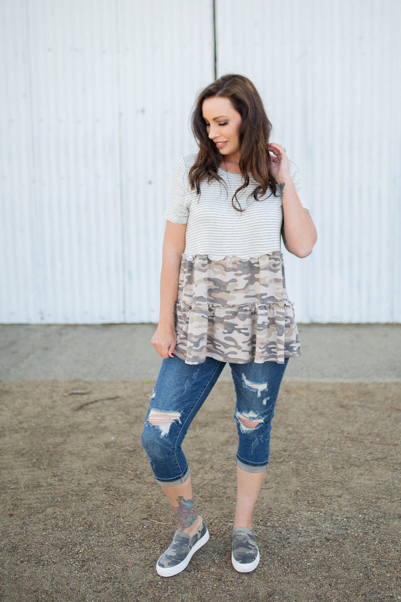 Taking Charge Ruffled Peplum Top