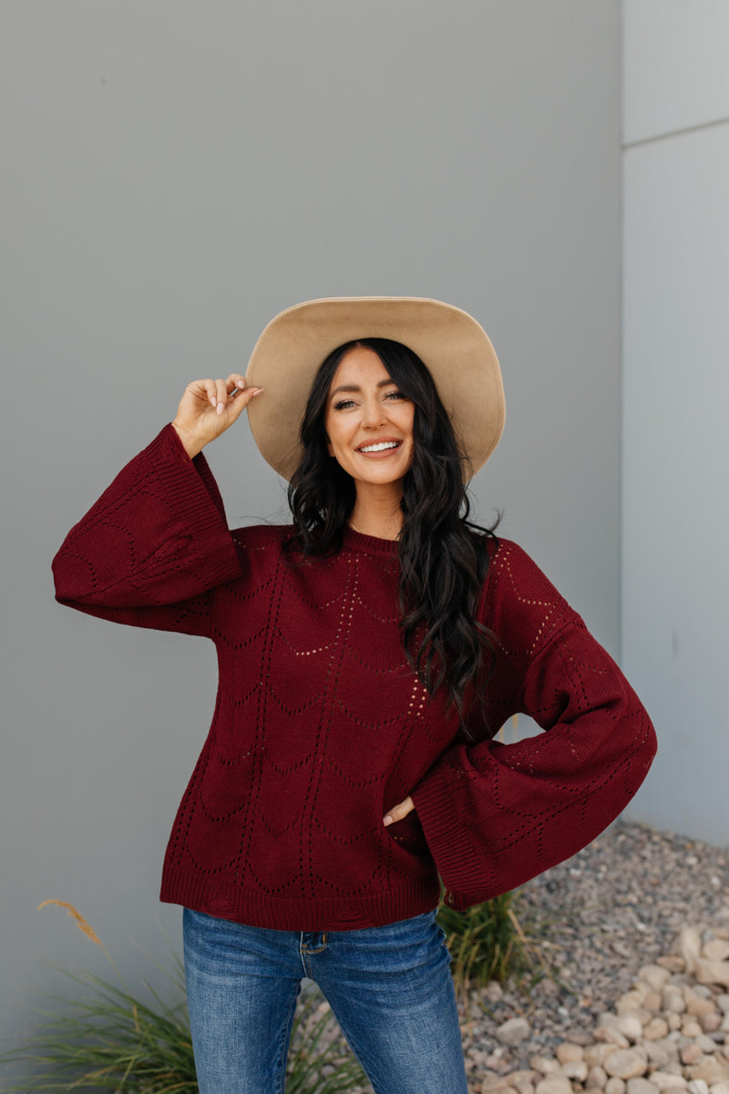 Just A Peek Burgundy Sweater