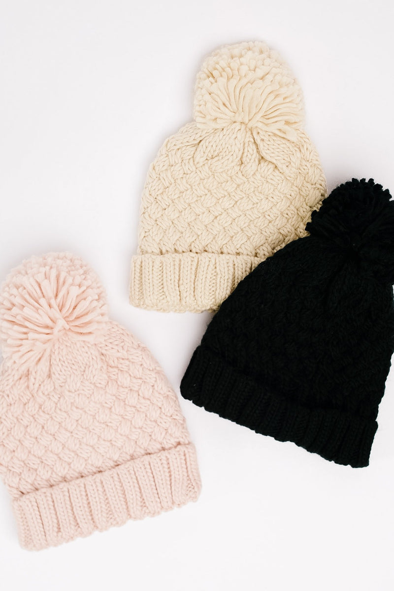Bella Knit Beanie in Black