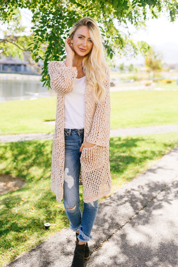 Coffee Shop Two-Tone Cardigan In Light Peach