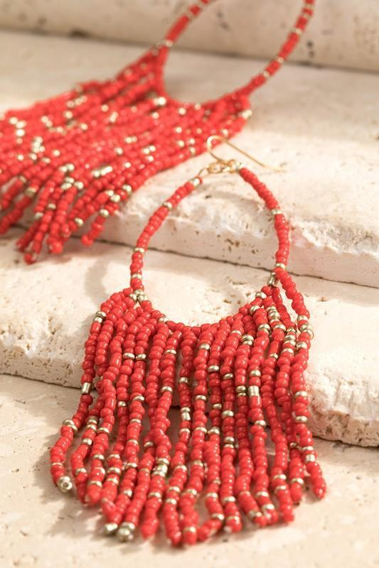 Confetti Beaded Earrings In Tomato Red