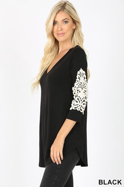 Romantic Lace Detail V Neck Tee